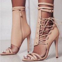 Beige Thin Heel Shoes