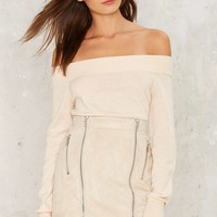Walking on Bare Off-the-Shoulder Sweater