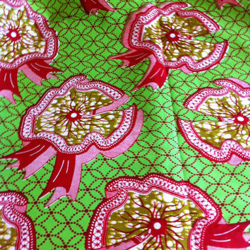 African Wax Print Fabric by the HALF YARD.  Ribbons in green, maroon, white and tan.