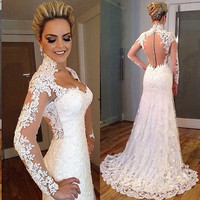 Sexy See Through Lace Wedding Dresses 2015 Sale Sweetheart Court Train Ivory Long Sleeve Robe De Mariage Boho Bridal Gowns #34