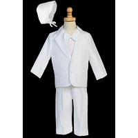 Boys White Satin Baptism Tuxedo Set w. Jacket & Hat 3m-24m
