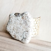 Chunky White Turquoise Slab on Hammered Gold Cuff