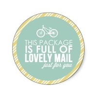 Mint & Gold Stripe Bicycle Mail Packaging Sticker from Zazzle.com