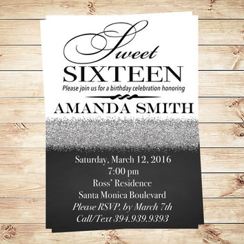 Silver Glitter Sweet 16 Birthday Party Invitation Black and White, Sweet sixteen invitations, Sweet sixteen Silver Glitter invite