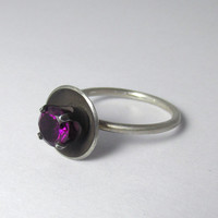 Amethyst Ring purple gemstone Sterling Silver Ring Stackable Sz 6 1/4 1.14 carats February Birthstone