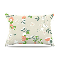 """Very Sarie """"Early Waking"""" Green Floral Pillow Case"""