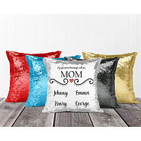 Personalized Sequin Throw Pillow | Custom Sequin Pillow | Mom's Greatest Blessing
