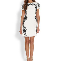 Embroidered-Lace Shift Dress
