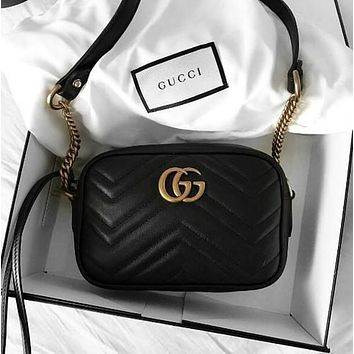 GG trendy women's classic fashion leather shoulder bag F black