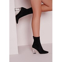 Pointed Toe Ankle Boots High Thick Heel