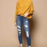 Lean In Off The Shoulder Knit Tunic - Mustard