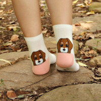 Cute Puppy Pink & White Socks