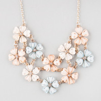 Full Tilt 2 Row Flower Statement Necklace Mint One Size For Women 23230552301
