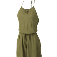 LE3NO Womens Lightweight Sleeveless Halter Jumpsuit Romper with Drawstring Waist (CLEARANCE)
