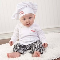 Baby Chef Three Piece Layette in Culinary Themed Gift Box-Unique baby Gifts|LollipopMoon.com only $39.95 - Newborn Baby Clothes
