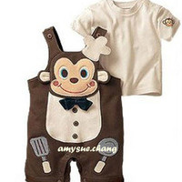 Baby Boy Girl Toddler Top+Pants Overalls Romper Monkey Outfit Clothes 18-24M
