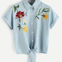 Tie Front Flower Embroidered Denim Shirt