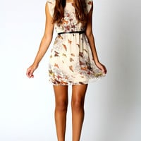 Tracey Butterfly Print Belted Skater Dress