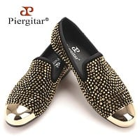 New gold toe and gold crystal handmade men men fashion leather slippers men party and wedding dress shoes men's flats