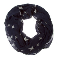 Navy and White Stars Infinity Scarf
