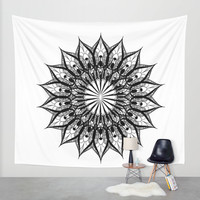 black and white flower Wall Tapestry by Haroulita
