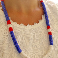 Trendy marine style asymmetrical red blue beaded  crochet rope cord necklace - contemporary marine necklace - chunky boho necklace