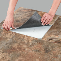 """Pack of 10 Elegant Home 18"""" x 18"""" Self Adhesive Natural Stone 2mm Thick Vinyl Tiles - rustic Copper Slate"""