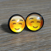 Emoji earrings-  Happy face with smile and squinting eyes- in black earrings