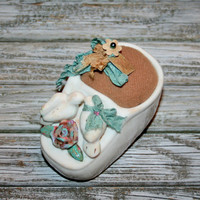 Unique Mothers Day Gift Baby Shoe Pincushion Victorian Sewing Collectible Love Birds Roses Pin Cushion Pin Keep Seamstress Upcycled Handmade