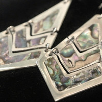 Abalone Mexico Sterling Earrings Silver 1950s 50s Mid Century Southwestern BOHO Modernist Chandelier Dangle Articulated Drop Shell Inlay