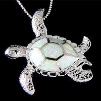 INLAY OPAL HAWAIIAN SEA TURTLE PENDANT SOLID 925 STERLING SILVER LARGE 35MM
