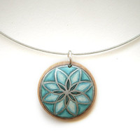 Choker Necklace à la Mode  - Turquoise Necklace - Hand Painted Wood Jewelry - Blue