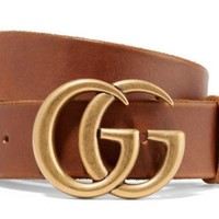 GUCCI GG Unfinished Faded Brown Leather Belt_70