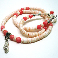 Lotus in Buddha Hand Pink Coral and Heishi Shell BOHO Summer Necklace