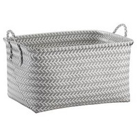 Large Woven Rectangular Storage Basket - Gray and White - Room Essentials™