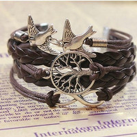 Tree of Life Silver Charm Stack Bracelet