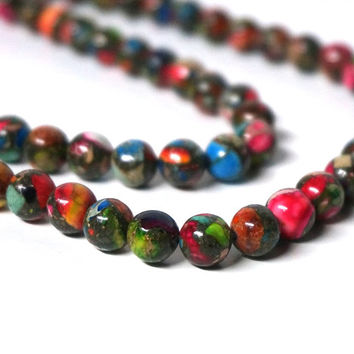 Colorful Mixed Impression Jasper, 8mm round gemstone bead, 8 inch strand (1051S)
