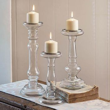 Set of 3 Glass Pillar Candle Holders