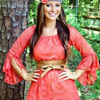 picture perfect lace dress in coral