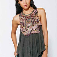 Ecote Embroidered Tank Top- Green