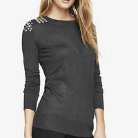 JEWELED SHOULDER RELAXED TUNIC SWEATER from EXPRESS