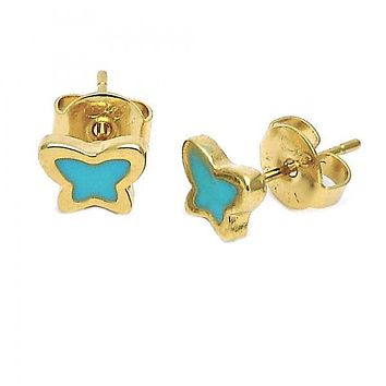 Gold Layered Stud Earring, Butterfly Design, Gold Tone