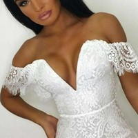 I Believe In Love White Lace Cap Sleeve Off The Shoulder Plunge V Neck Bodycon Mini Dress