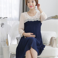 2014 New Summer Plus Size XL Elegant 3D Embroidered Lace/Chiffon Maternity Casual Dress Pregnant Clothes/Wear to Pregnancy Women = 1946071300