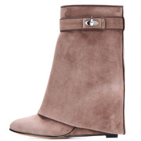 Suede Twist Buckle Detail High Boots
