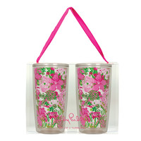 Lilly Pulitzer Insulated Tumbler Set- Beach Rose