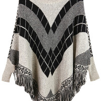 Grey Black Batwing Geometric Print Fringed Cape