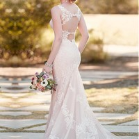 [199.99] Exquisite Tulle Spaghetti Straps Neckline Mermaid Wedding Dresses With Lace Appliques - dressilyme.com