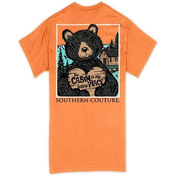 Southern Couture Classic Cabin Happy Place Bear T-Shirt