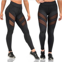 Women's Fashion Hot Sale Plus Size Hollow Out Yoga Sports Leggings [10320566022]
